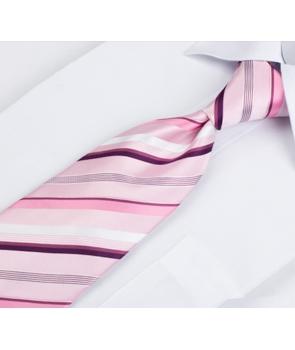 7add955fea822 ... Coffret Chicago - Cravate rose tendre à rayures blanches, rose foncé et  deux nuances de