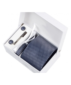 Coffret Barcelone - Cravate grise à motifs losanges gris anthracite et gris clair