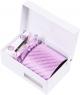 Coffret Vienne - Cravate rose à rayures violettes et petits motifs carrés gris
