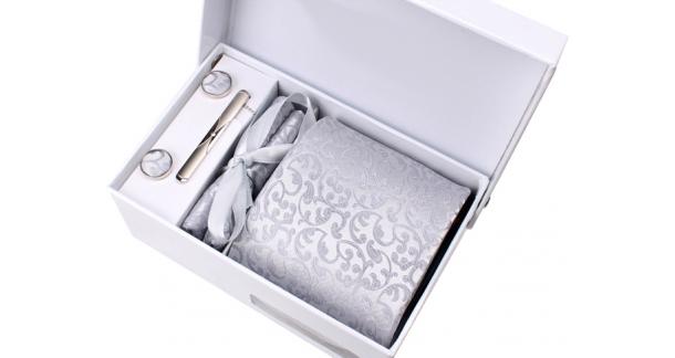 Coffret Nashville - Cravate gris clair satiné à motif floral ton sur ton