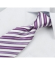 Coffret Venise - Cravate blanche aspect satin mat, à rayures violettes claires et foncées