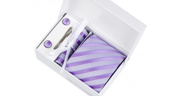 Coffret Dublin - Cravate gris clair parsemée de petits points parme, à rayures parme et mauve clair