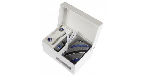 Coffret Buenos Aires - Cravate slim gris chiné à rayures bleu denim, bleu marine et fines rayures blanches