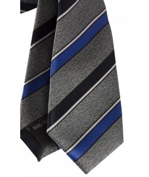 4987bd23b9a98 ... Coffret Buenos Aires - Cravate slim gris chiné à rayures bleu denim,  bleu marine et