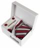 Coffret Le Caire - Cravate slim à rayures rouges, gris foncé et blanc satin