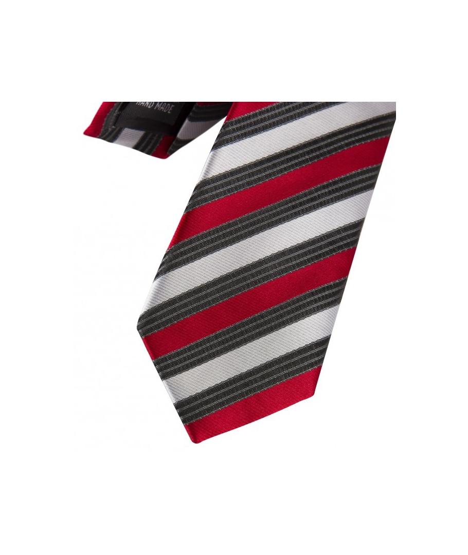 9770d802f5793 ... Coffret Le Caire - Cravate slim à rayures rouges, gris foncé et blanc  satin ...
