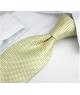 Coffret Jakarta - Cravate jaune doré à motifs carrés et petits carrés bleus
