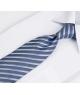 Coffret Philadelphie - Cravate aspect gris métallisé à rayures blanches, bleues et bleu clair