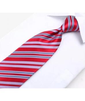 66baba87c142c ... Coffret Brazzaville - Cravate rouge à larges rayures bleu ciel, fines  rayures roses et bleu