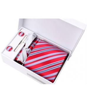 Coffret Brazzaville - Cravate rouge à larges rayures bleu ciel, fines rayures roses et bleu marine