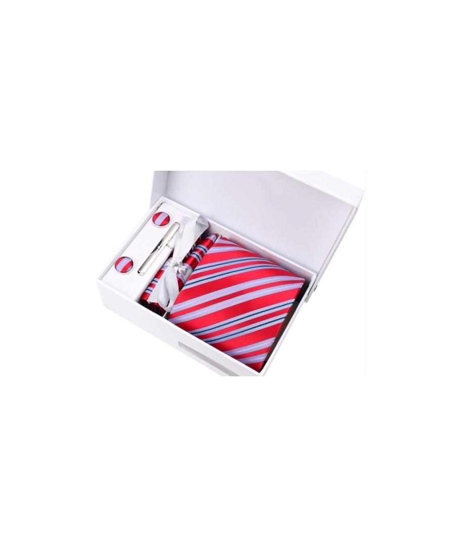 53137167f6d41 Coffret Brazzaville - Cravate rouge à larges rayures bleu ciel, fines  rayures roses et bleu ...