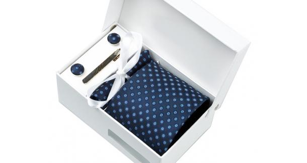 Coffret Santorin - Cravate bleu marine avec ronds bleu ciel entourés de cercles bleus ton sur ton