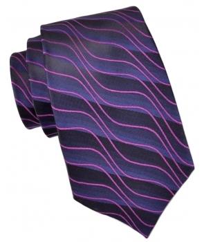 f837a69c69051 ... Coffret Nicosie - Cravate à rayures de différentes nuances de violet et rayures  roses en vagues